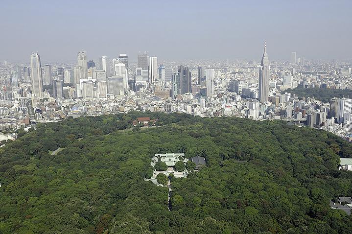 Храм Мэйдзи с высоты, позади район Синдзюку