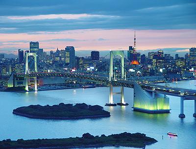 Вид на Радужный мост вечером