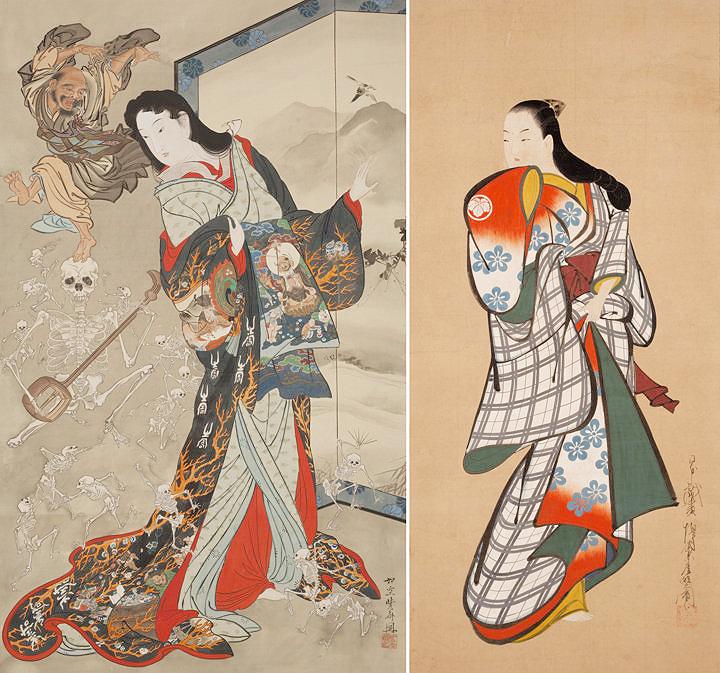 Каванабэ Кёсай (1885-89) и Кайгэцудо Дохан (1704-16)