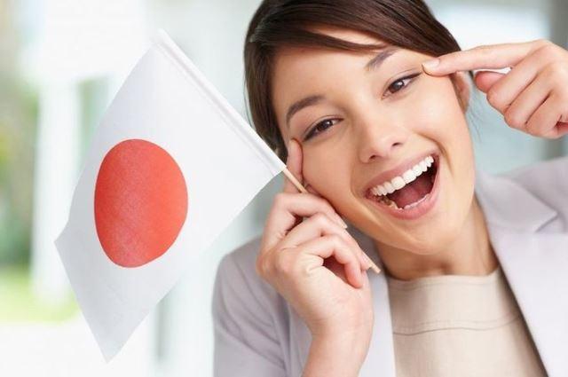с японским флагом